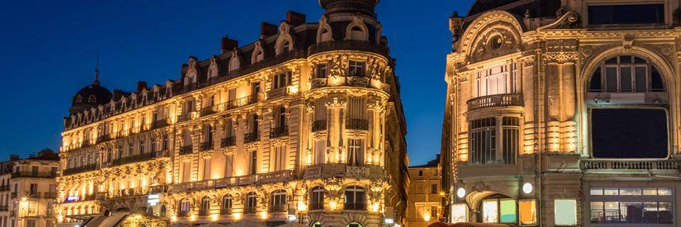 Montpellier city at night