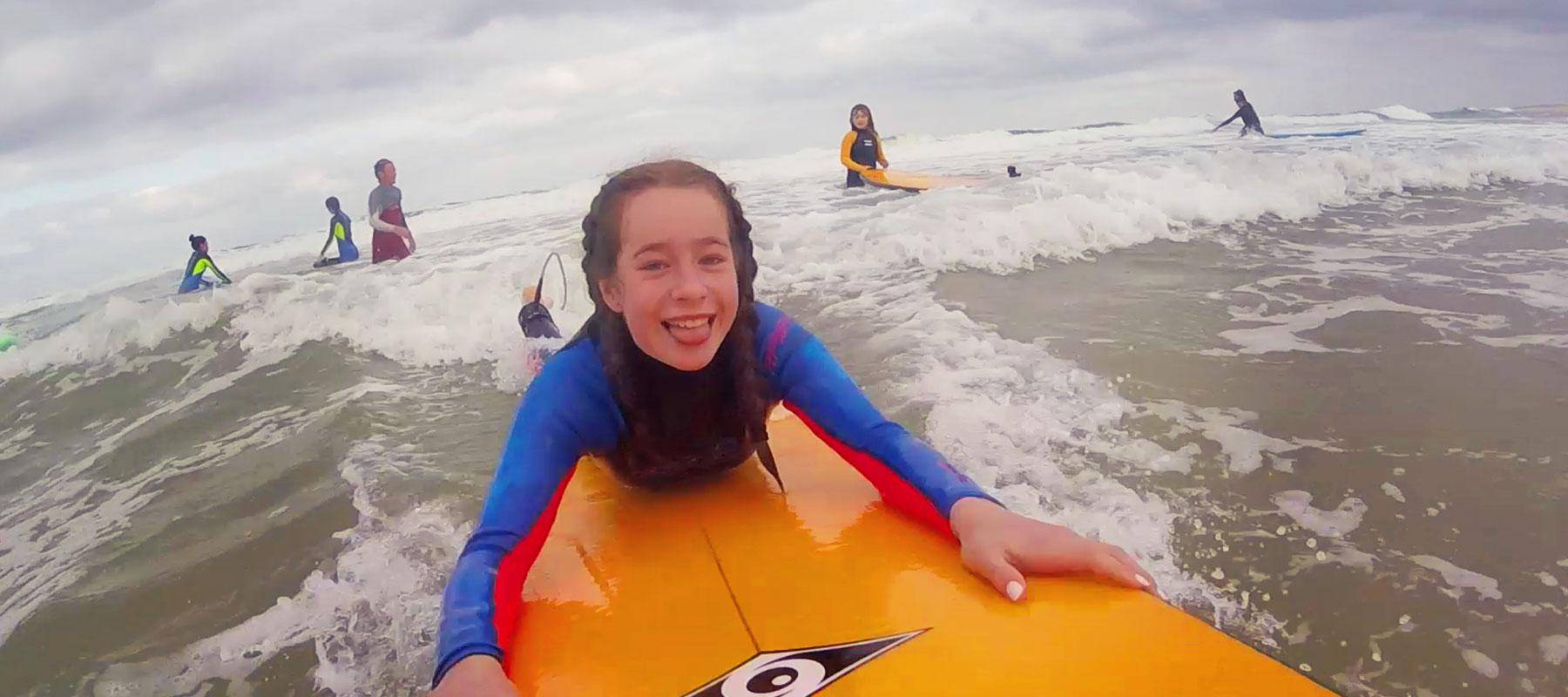 Blogger Jenography's daughter Lillian surfing in Moliets