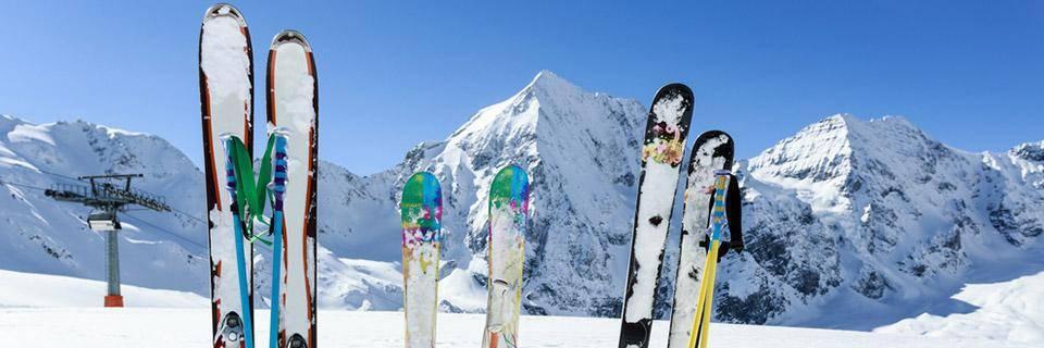 Skis dug into the snow
