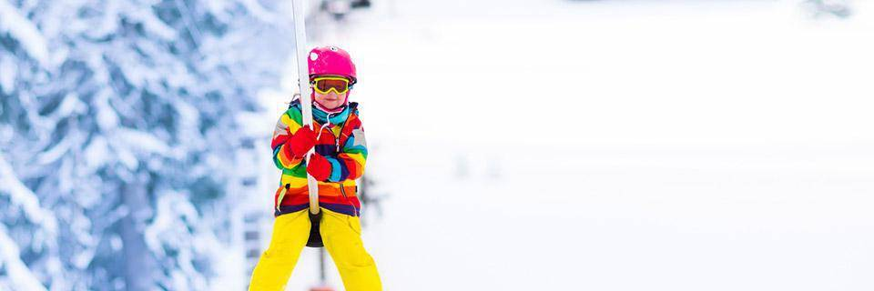 Little tot on a button ski lift